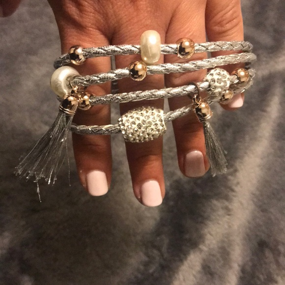 Paparazzi- Knotted Silver & White with Tassels